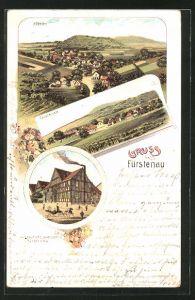 Lithographie Fürstenau, Gasthaus Berends, Ortsansicht Bödexen