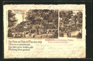 Lithographie Duisburg, Gasthaus Monning im Duisburger Walde, Aussichtsturm auf dem Kaiserberg