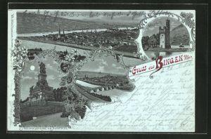 Mondschein-Lithographie Bingen, Nationaldenkmal a. d. Niederwald, Mäusethurm, Ortsansicht v. d. Drususbrücke