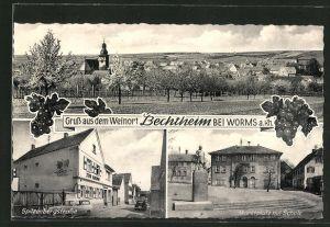 AK Bechtheim a. Rhein, Totalansicht, Gasthaus zur Krone in der Spitzbergstrasse, Marktplatz mit Schule