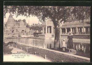 AK Marseille, Exposition coloniale 1922, Le Temple d' Ankor-Vat et le Lac sacrè