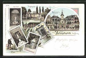 Lithographie Hellbrunn, Mechanisches Theater, Fischgrotte, Regengrotte