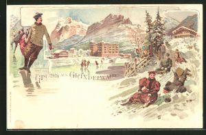 Lithographie Grindelwald, Teilansicht mit Familien beim Rodeln & Schlittschuhlaufen
