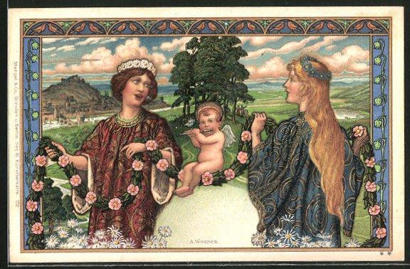 Künstler-AK sign. A.Wagner: Jugendstil, Frauen binden Blumenkränze