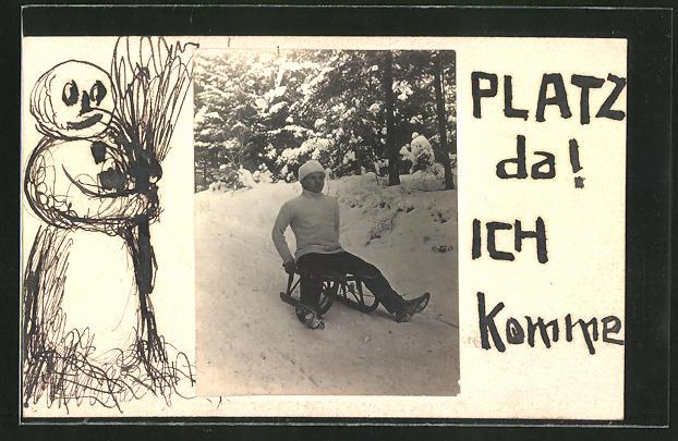 Künstler-AK Handgemalt: Glückwunschgruss, Mann auf einem Schlitten im Wald