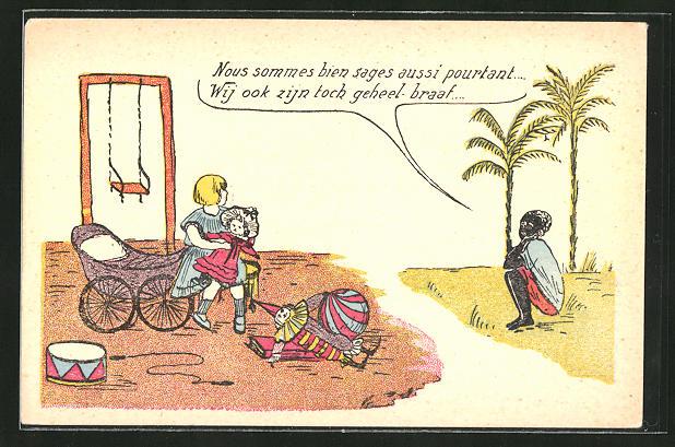 AK Afrikanisches Kind schaut einem europäischen Mädchen beim Spielen zu