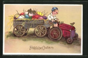 AK Kind auf einem Traktor mit vollbeladenen Anhänger