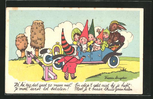 Künstler-AK Freddie Langeler: Zwerge und Hasen sitzen im Auto