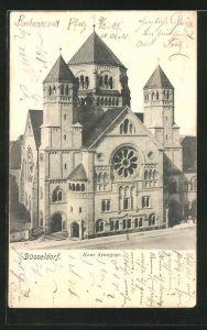 AK Düsseldorf, Vorderansicht der Neuen Synagoge