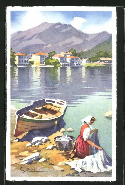 Künstler-AK S. Bonelli: Waschfrau am Wasser mit Boot und Ortsansicht