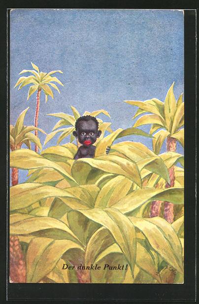 Künstler-AK Herschu: Der dunkle Punkt!, afrikanisches Baby zwischen Palmen