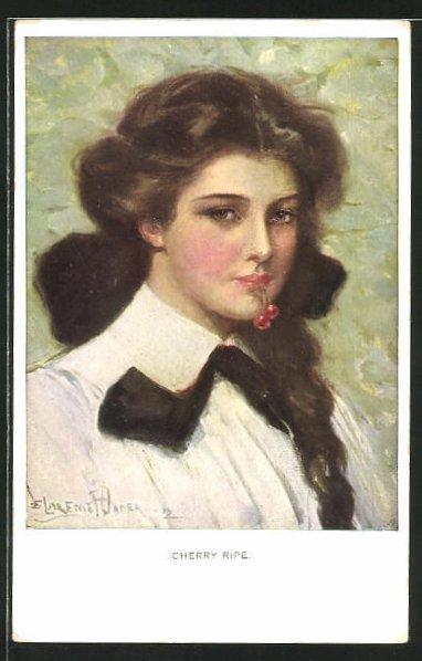 Künstler-AK Clarence F. Underwood: Cherry Ripe, junge Frau mit Kirschen im Mund