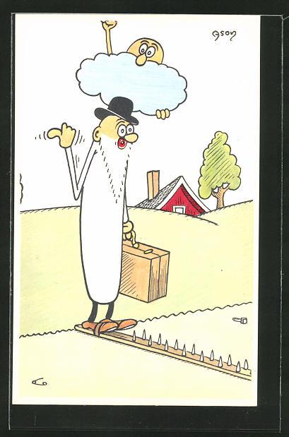 Künstler-AK sign.Ason: Mann mit Bart wird von einer Wolke verfolgt