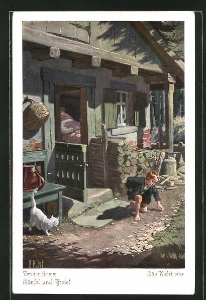 Künstler-AK Otto Kubel: Hänsel und Gretel, Hänsel sammelt Steinchen