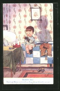 Künstler-AK T. Gilson: Bachelor Joys, Depuis que Maman est de la Croix-Rouge, je me débrouille tout seul.