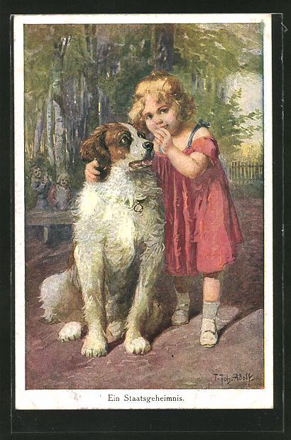Künstler-AK Adolf (Jodolfi): Ein Staatsgeheimnis, Mädchen flüstert ihrem Hund etwas ins Ort