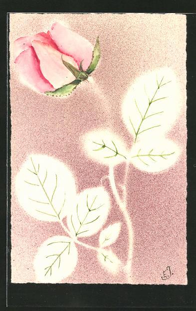 Präge-Airbrush-AK Rose mit Blättern, Airbrush