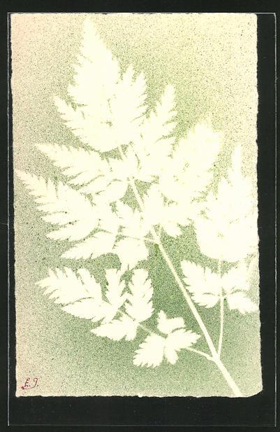 Präge-Airbrush-AK Blätterabdruck mit Airbrush