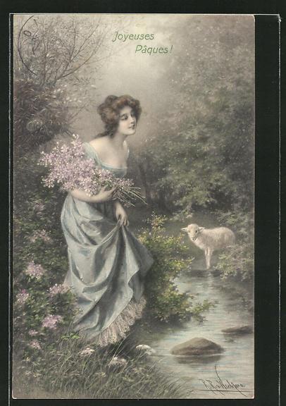 Künstler-AK Wichera: Schaf beobachtet Frau mit Blumenstrauss am Fluss