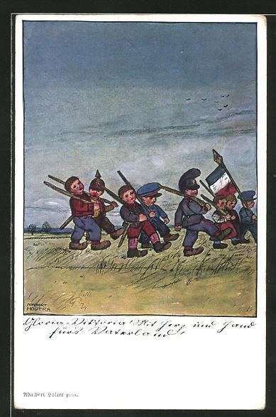 Künstler-AK Adalbert Holzer: Der Deutsche Kampf 1914, Kindersoldaten ziehen in den Krieg