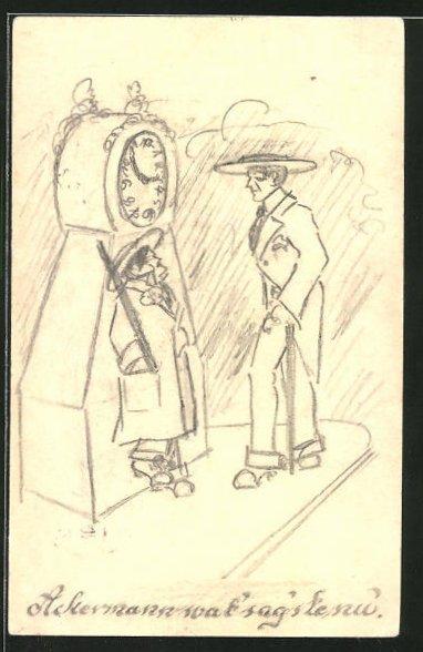 Künstler-AK Handgemalt: Mann unterhält sich mit einer Frau an einer Uhr
