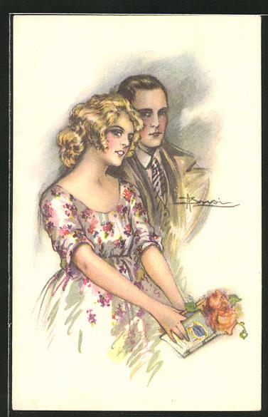 Künstler-AK Adolfo Busi: Liebespaar bei einem Date mit Blumen