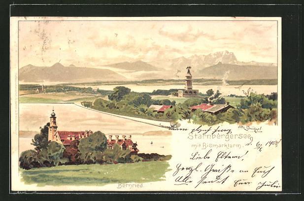 Künstler-Lithographie Otto Strützel: Bernried, Starnbergersee mit Bismarckturm