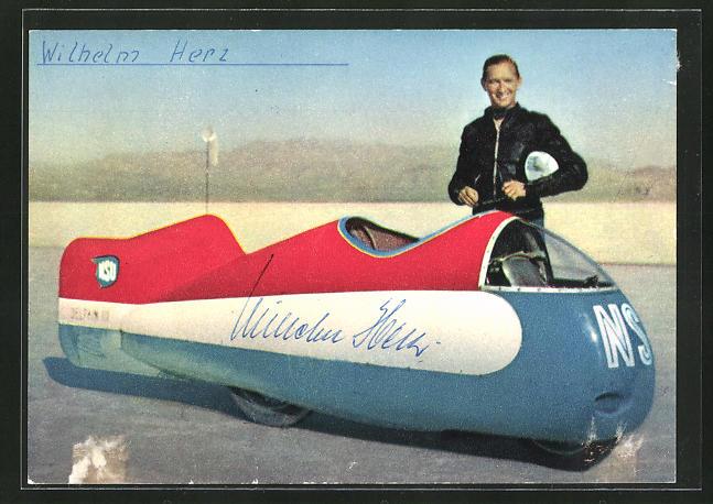 AK Wilhelm Herz mit seinem 550 ccm NSU-Delphin in Utah