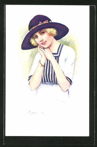 Künstler-AK Suzanne Meunier: Rieuse de Paris, junge Dame mit Hut