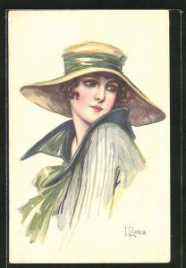 Künstler-AK sign. L. Rosa: junge Dame mit Hut