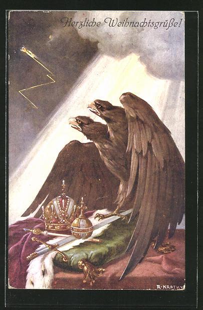 Künstler-AK R. Kratky: Weihnachtsgrüsse!, Doppelkopfadler