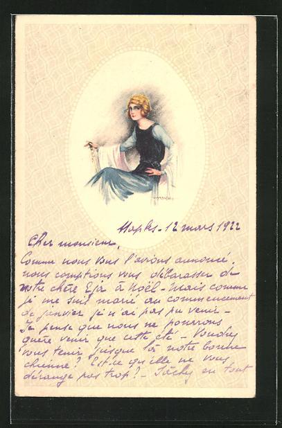 Künstler-AK A. Bertiglia: junge Dame in blauem Kleid
