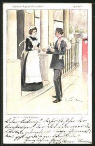 Künstler-AK Familiar Figures of London, Postman, Briefträger