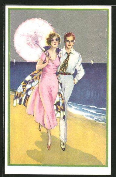 AK Mondänes Paar am Strand, Art Deco