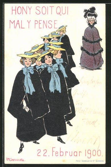 Künstler-AK sign. Steinmetz: Hony soit qui mal y pense, Februar 1900