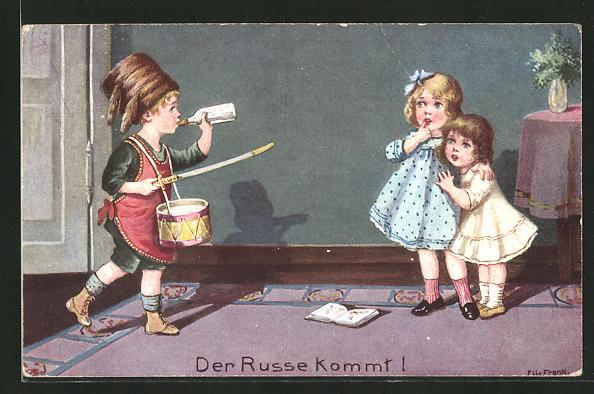 Künstler-AK Elly Frank: Der Russe kommt!, Kinder spielen Krieg