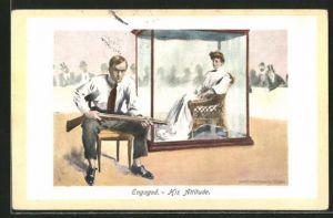Künstler-AK sign. James Montgomery Flagg: Engaged - His Attitude, Verlobter bewacht seine Zukünftige, Scherz