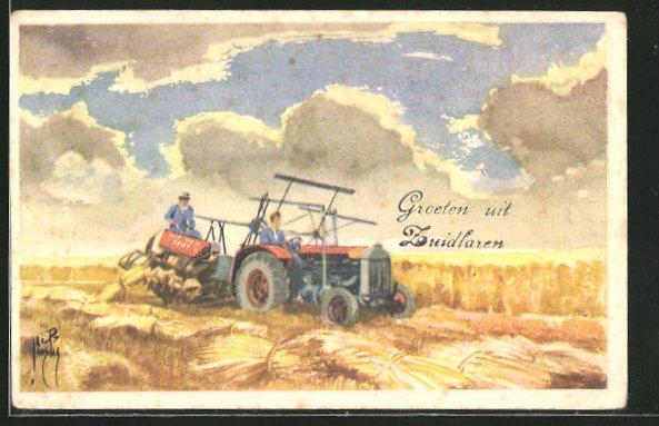 Künstler-AK Traktor mäht Korn