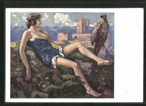 Künstler-AK Ernst Liebermann: halbnackte Frau mit Adler auf einem Berg