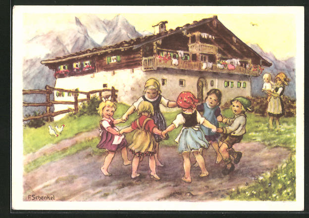 Künstler-AK Franziska Schenkel: tanzende Kinder im Kreis