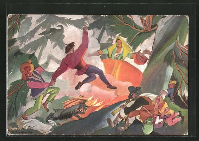 Künstler-AK Zofia Stryjenska: Däumlinge beim Tanzen in einem Baum