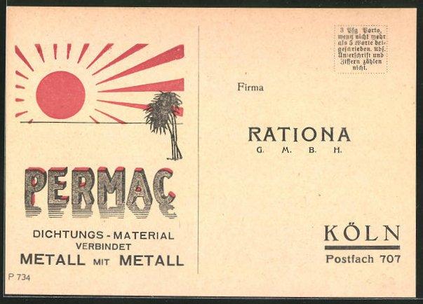 AK Rationa GmbH, Permac Dichtungs-Material verbindet Metall mit Metall, aufgehende Sonne, Handwerk