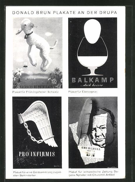 AK Donld Brun Plakate an der Drupa