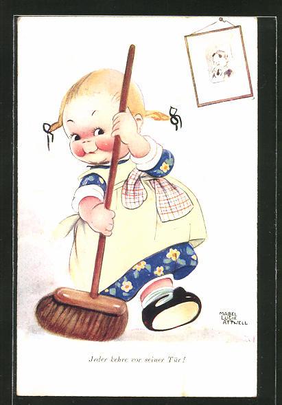 Künstler-AK Mabel Lucie Attwell: Jeder kehre vor seiner Tür!, kleines Mädchen mit Besen