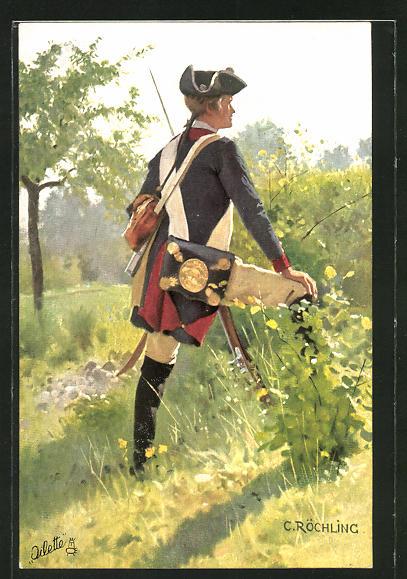 Künstler-AK sign. C. Röchling: Soldat in histor. Uniform
