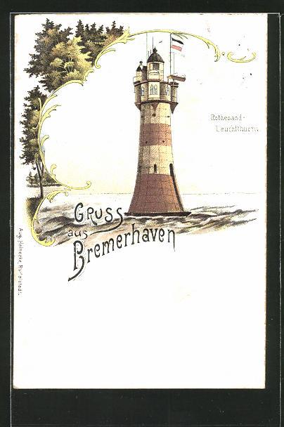Lithographie Bremerhaven, Rothesand-Leuchtturm