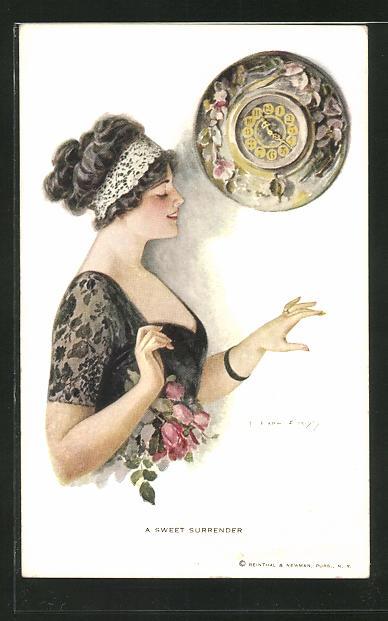 Künstler-AK F. Earl Christy: A sweet Surrender, junge Dame mit Ring und Wanduhr
