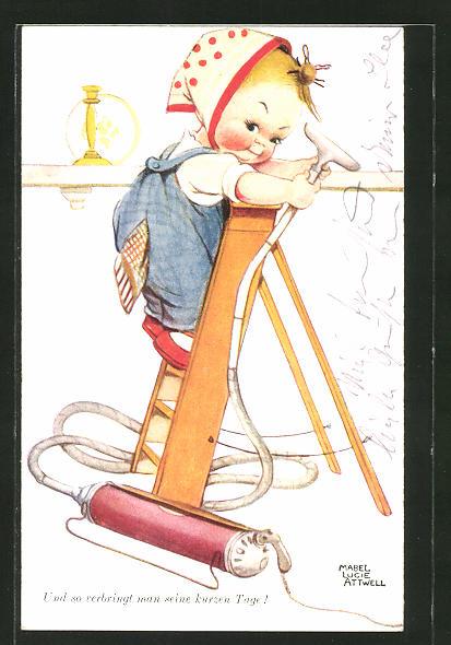 Künstler-AK Mabel Lucie Attwell: Und so verbringt man seine kurzen Tage!, kleine Hausfrau mit Staubsauger