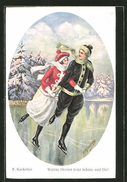 Künstler-AK Friedrich Kaskeline: Warme Herzen trotz Schnee und Eis, schlittschuhlaufendes Paar