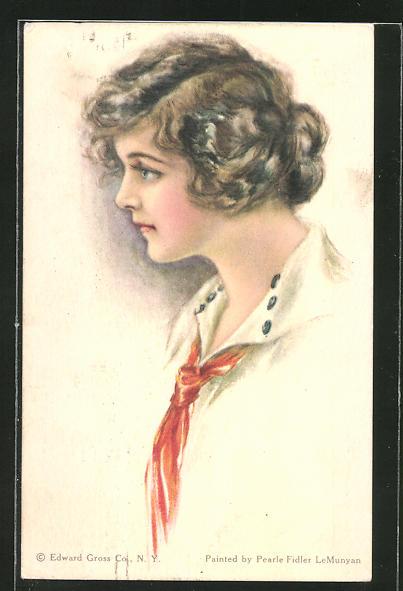 Künstler-AK Pearle Fidler LeMunyan: American Girl No. 54, Mädchen mit rotem Halstuch